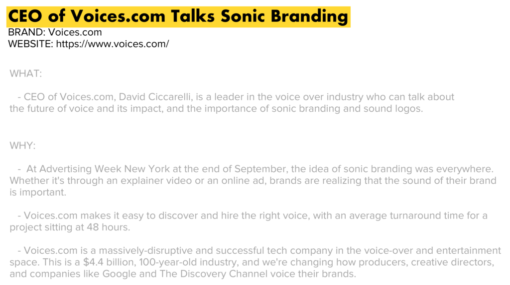 CEO of Voices.com talks sonic branding